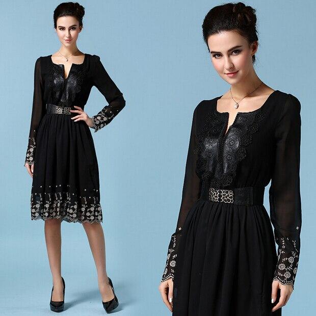 b3841879d Vestido de Chiffon verão, posicionamento bordado de mangas compridas  mulheres de couro preto cintura gola de renda em Vestidos de Roupas das  mulheres no ...