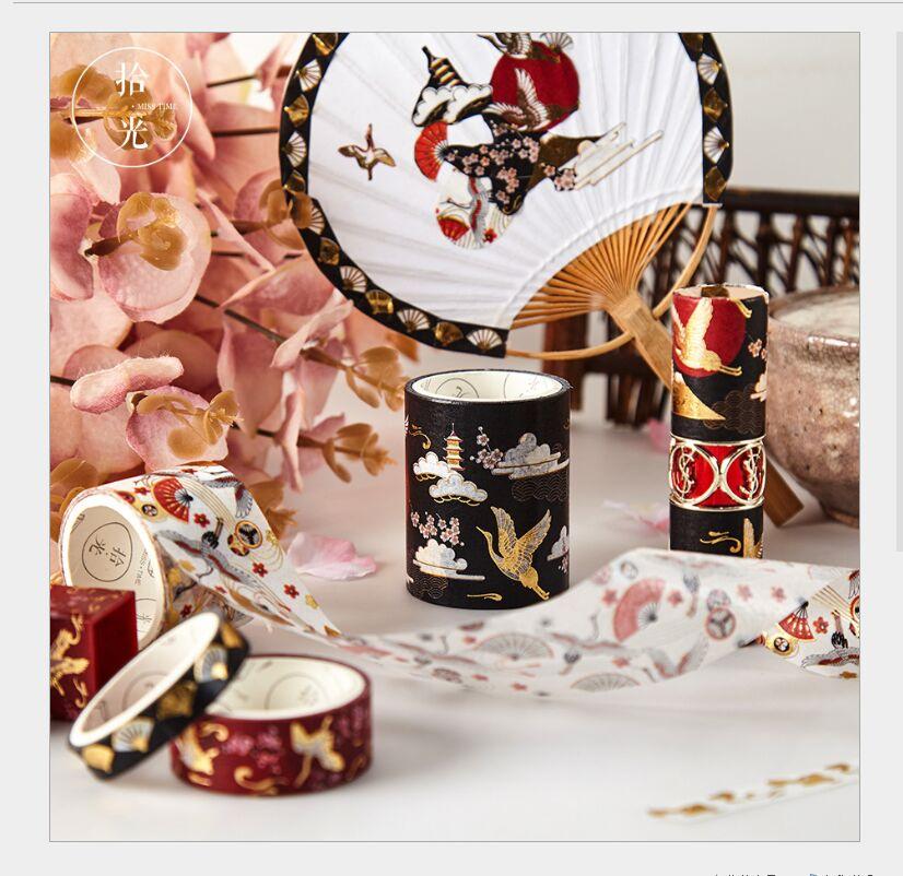 5Rolls/box Gold Foil Silver Flying Crane Japan Fan Cloud Flower Sakura Magic Stars Washi Tape DIY Planner Scrapbook Masking Tape