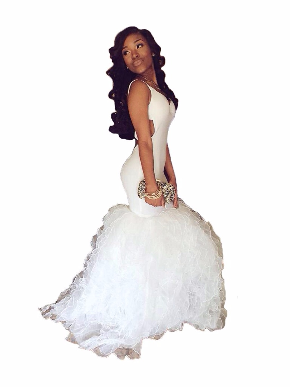 White Mermaid Prom Dresses 15