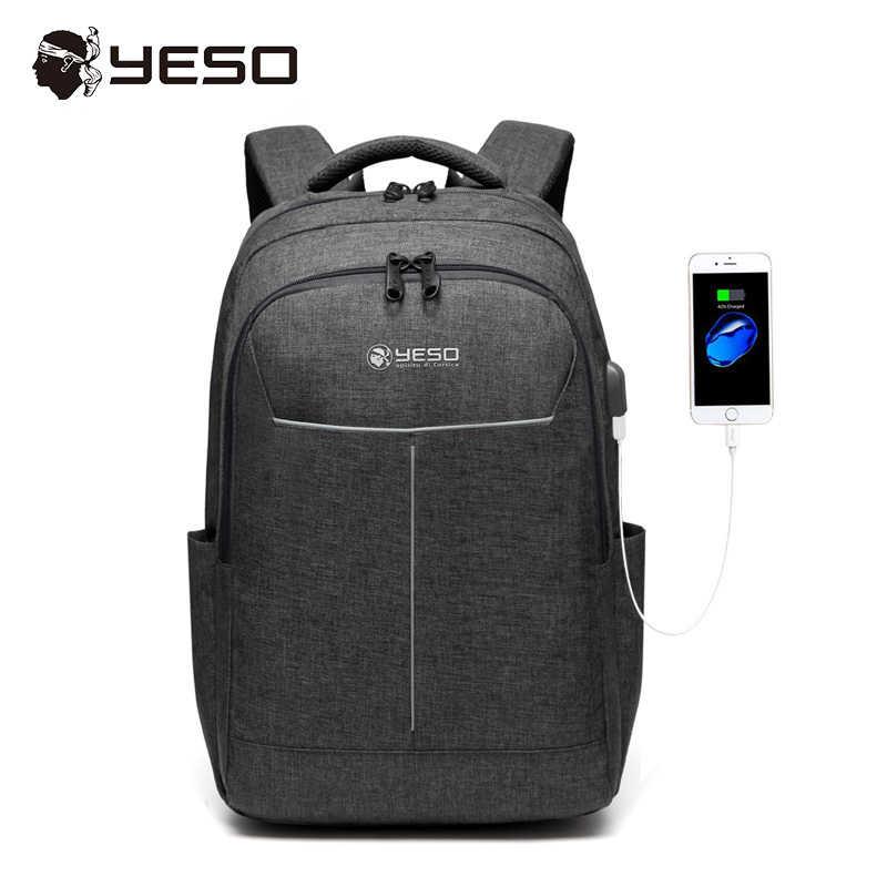 344237aa3385 YESO рюкзак для ноутбука с usb зарядным портом большой емкости деловые  рюкзаки для женщин и мужчин