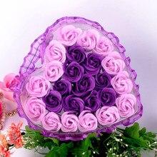 24 шт., мыло в виде цветка розы, сердце, ароматизированное, для ванны, для тела, лепестки, мыло в виде цветка розы, свадебное украшение, подарок для влюбленных