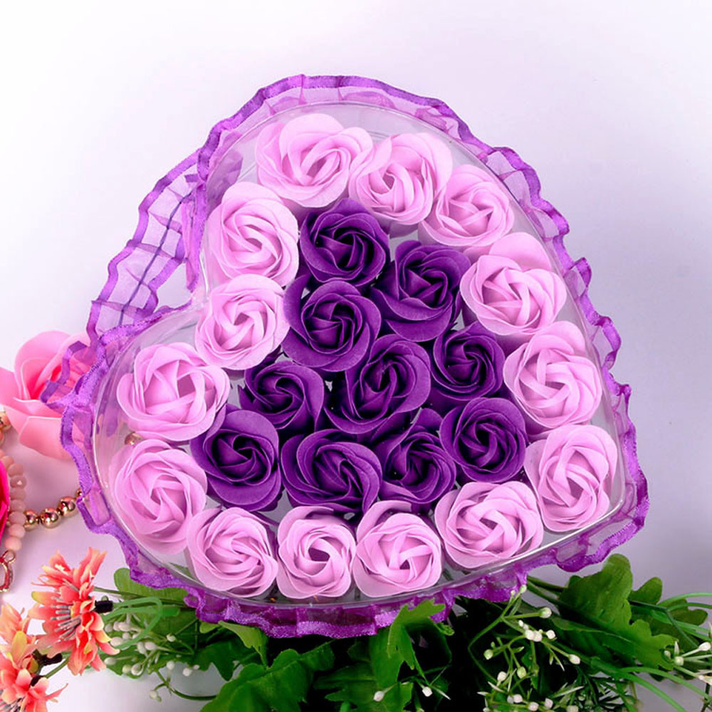 24Pcs Rose Flower Soap Heart Scented Bath Body Petal Rose Flower Soap Wedding Decoration Gift For Lovers