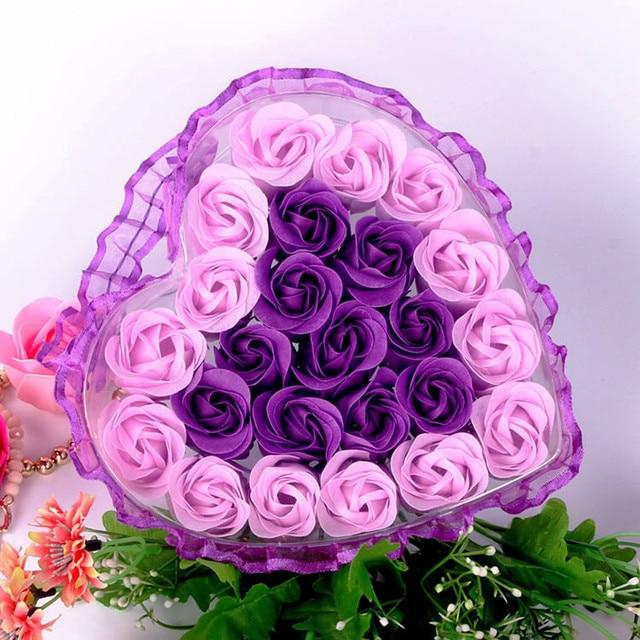 24Pcs Rose Flower Soap Heart Scented Bath Body Petal Rose Flower Soap Wedding Decoration Gift For Lovers