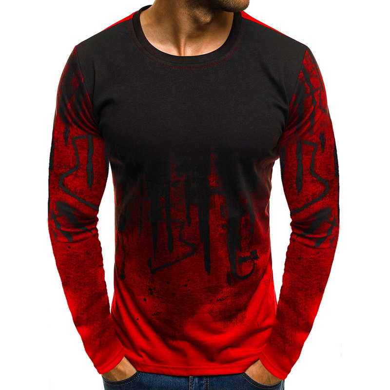 Fashion Patchwork   T     Shirt   Men Long Sleeve Round Neck Loose Tee   Shirts   New Brand Printed Casual Streetwear Male Hip Hop   T  -  shirt