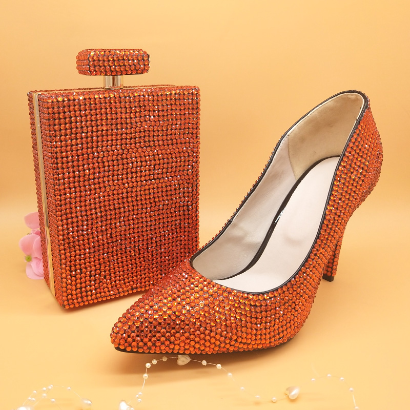 BaoYaFang Orange Pointed Toe Womens Wedding Shoes with matching bags Thin heel big size 34 48