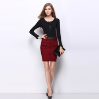 2016 Summer Autumn Nice Style Pockets Hip Super Elastic Slim Skinny Make Mini Skirts Sexy Casual
