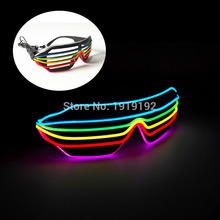2016 Hot sales New Style 6 Color / 7 EL Wire Fashion Shutter Shaped Glasses With 3V inverter for Costume Party Festival