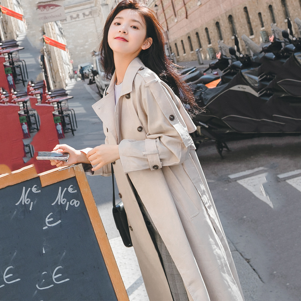 Fashion Double-breasted Windbreaker Female Long section 2019 Spring Autumn New Korean Chic Waist Belt   Trench   Coats Women XA33