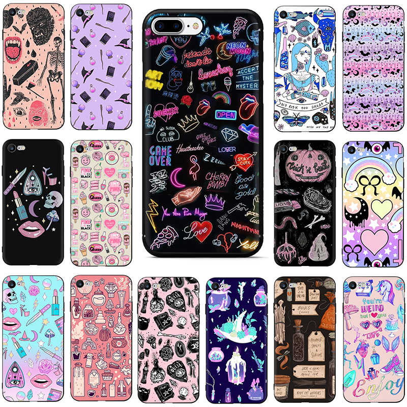 Girly Pastel Heks Goth Soft TPU Siliconen telefoon cover case voor iphone 6 6s 7 8 plus X XR XS Max