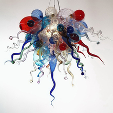 Modern Flower Shape Crystal Chandelier Contemporary LED Lights Hand Blown Murano Glass Chihuly Style