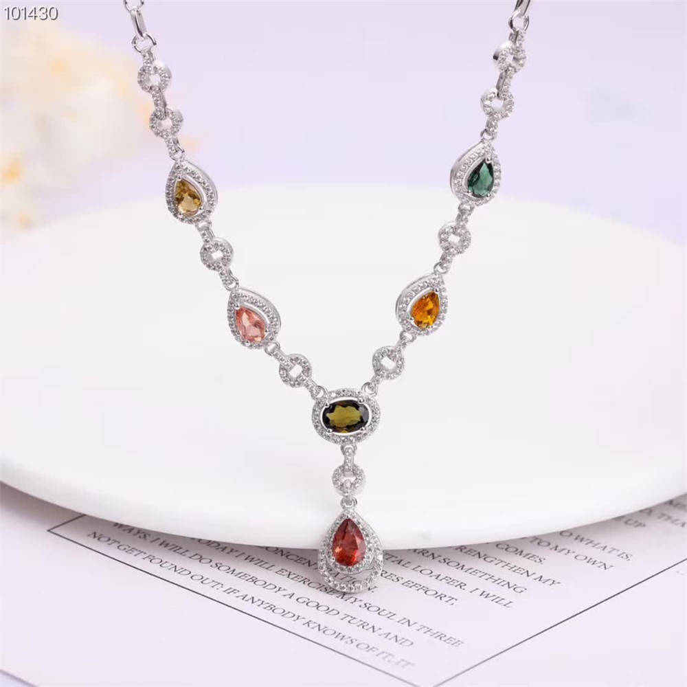 SGARIT gemstone jewelry wholesale classic 925 sterling silver natural tourmaline statement necklace women for wedding party 1