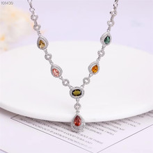 цена gemstone jewelry wholesale classic 925 sterling silver natural tourmaline charm pendant necklace for female онлайн в 2017 году