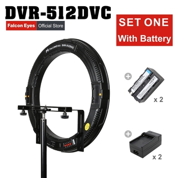 FALCONEYES 512 Ring LED Panel 31W Lighting Photography Interview Video Continuous Light W/Battery/Charger DVR-512DVC Set One