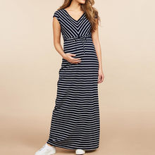 Maternity Sleepwear Dress Pregnancy Summer Short Sleeve Stripe Long Dresses For Pregnant Women Breastfeeding Dress ropa mujer(China)