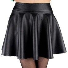 2017 new high waist faux leather skater flare skirt mini skirt above knee solid color skirt