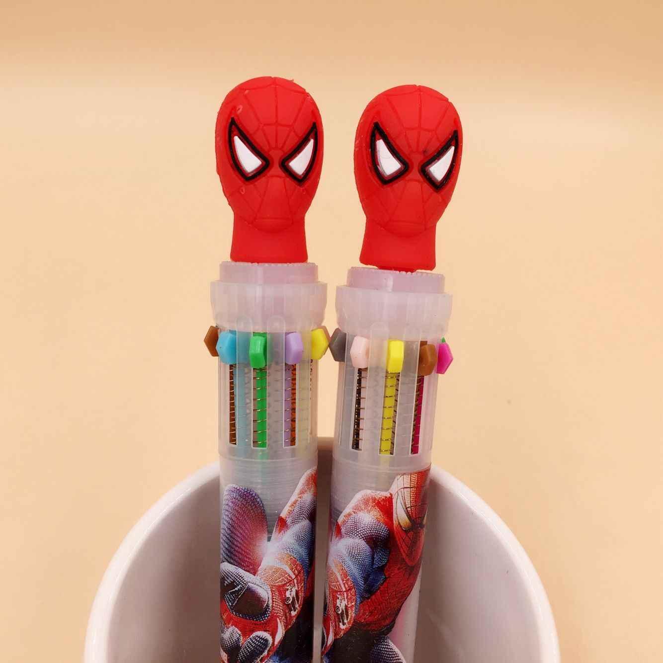 MARVEL Spiderman HERO 10 สี Chunky ปากกาลูกลื่นปากกาโรงเรียนซัพพลายของขวัญเครื่องเขียน Papelaria Escolar