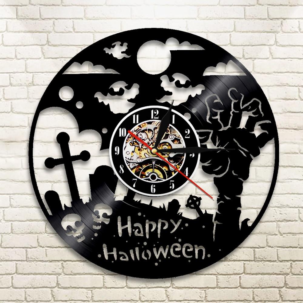 1piece happy halloween wall clock vinyl record lp clock halloween