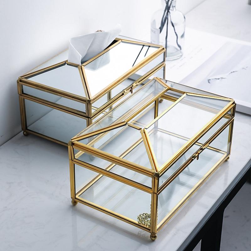 Nordic Metal Mirror Tissue Box Holder Luxury Glass Napkin Dispenser Desktop Storage Box Bathroom Restaurant Organizer Home Decor