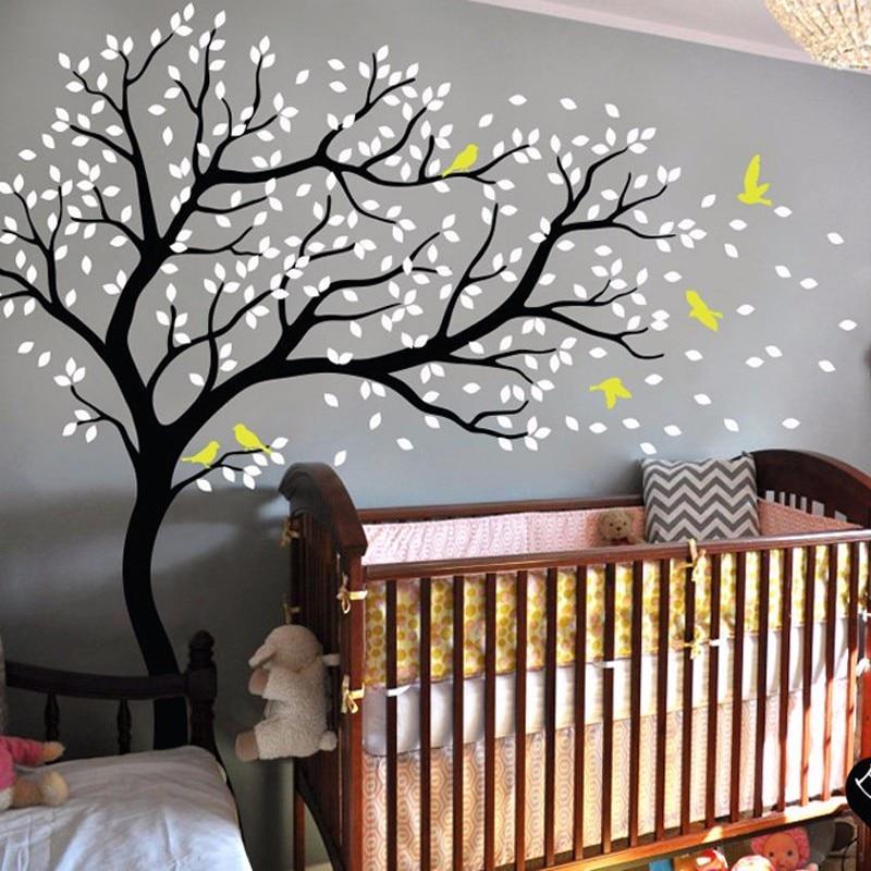 Grands arbres oiseaux vinyle Stickers muraux pour enfants chambres mur Art Stickers maison salon chambre décor pépinière décoration murale