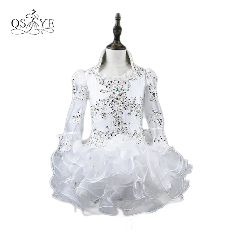 White Lovely   Flower     Girls     Dresses   2017 Real Photos Pageant   Dress   for Little   Girls   Lace Beaded Long Sleeves Kids Prom Gowns