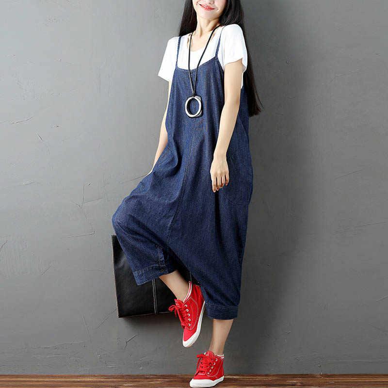 a0c19b658ffc ZANZEA Women Strappy Sleeveless Harem Romper Loose Dungarees Overalls Denim  Blue Linen Suspender Jumpsuit Solid Bib