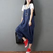 ZANZEA Women Strappy Sleeveless Harem Romper Loose Dungarees Overalls Denim Blue Linen Suspender Jumpsuit Solid Bib