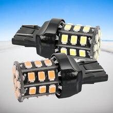 2 шт. T20 7443 W21/5 Вт 33 SMD 2835 светодиодный задний фонарь для автомобиля, красный, белый, 21/5 Вт стоп-сигнал, Автомобильные противотуманные фары, указ...
