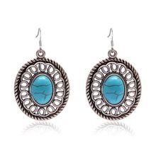 d3cd50db31f0 SUKI turquesas pendientes Vintage joyería de plata pendientes de piedra  Natural ronda pendientes colgantes del encanto
