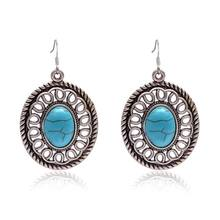 SUKI Turquoises Earrings Vintage Silver Jewelry Natural Stone Earrings Round Dangle Drop Earrings Charm Pendants Earring Women(China)