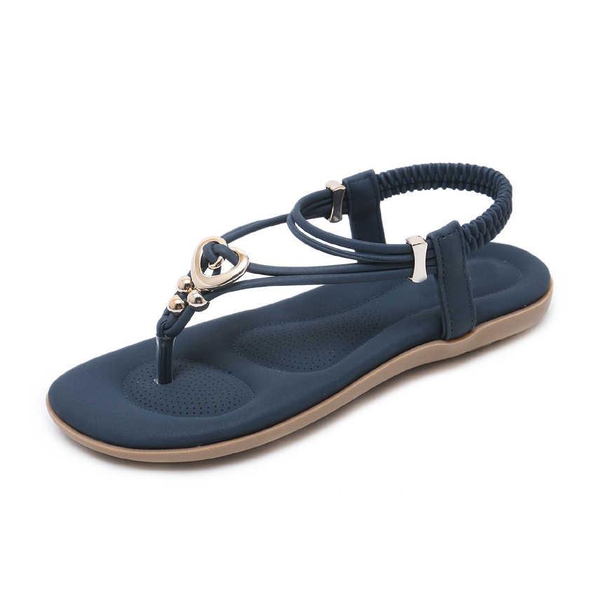 b80f0b641b3417 ... TIMETANG Flats Bohemia Ethnic Sandals Women Flip Flops Comfort Soft Shoes  String Bead Metallic Gladiator Rome ...