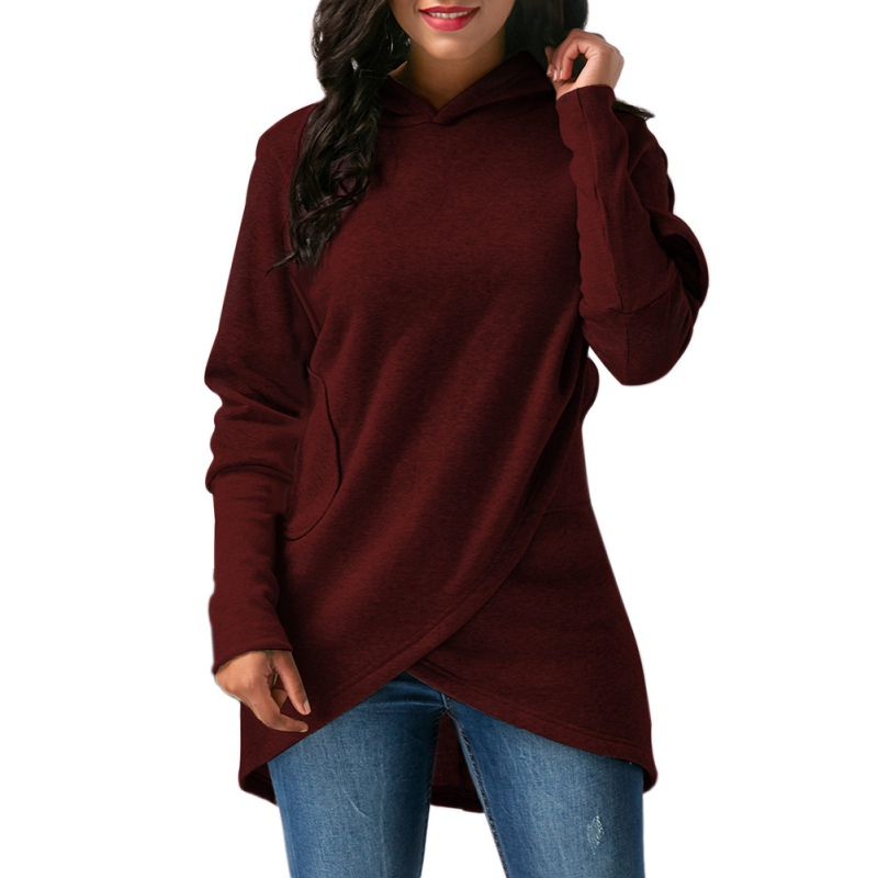 Hoodie Sweatshirt Blouse Hooded-Asymmetric Women Long-Sleeve Outwear Tops Hem-Wrap Hot
