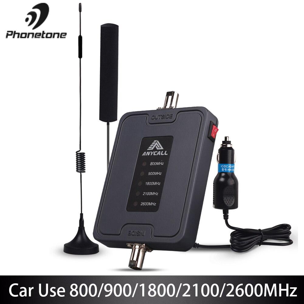 Amplificateur de Signal de téléphone portable 800/900/1800/2100/2600MHz 2G 3G 4G LTE amplificateur pour voiture utilisation 5 bandes 45dB Gain répéteur cellulaire
