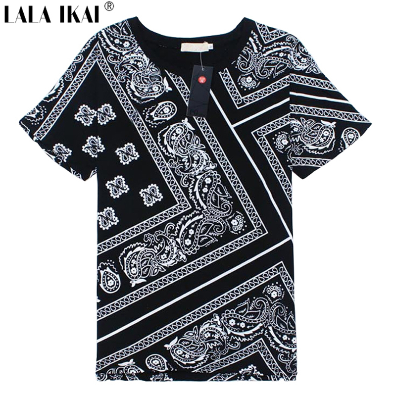 Latest Plus Size 5XL T Shirt Men Swag La Rhude Bandana Print HARAJUKU Flowers Cashew Worldshine Hip Hop Mens Tshirt SMB0185 - black pop Store store