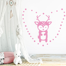 Amusing Heart Deer Wall Stickers Room Decor For Girls Bedroom Sticker Nursery Kids Mural Poster adesivi murali