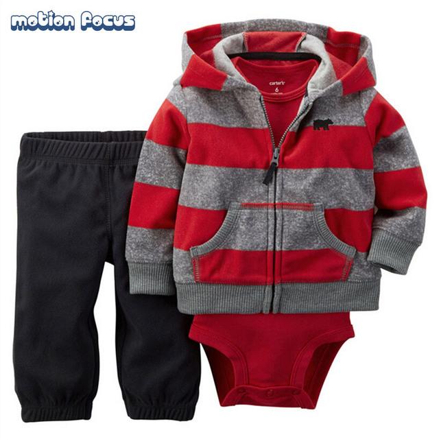 3 Unidades Bebé Recién Nacido Sistema de la Ropa Del Otoño Del Resorte Ropa Del Bebé Sudaderas Con Capucha A Rayas + Mamelucos + Pants Niños ropa 6-24 M