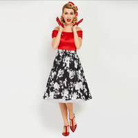 Sisjuly Vintage 1950s 60s Mid Calf Short Sleeve Red Women Slash Neck Ball Dress 2017 Summer