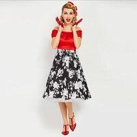 Sisjuly Vintage 1950s 60s Mid Calf Short Sleeve Red Women Slash Neck Ball Dress 2017 Summer