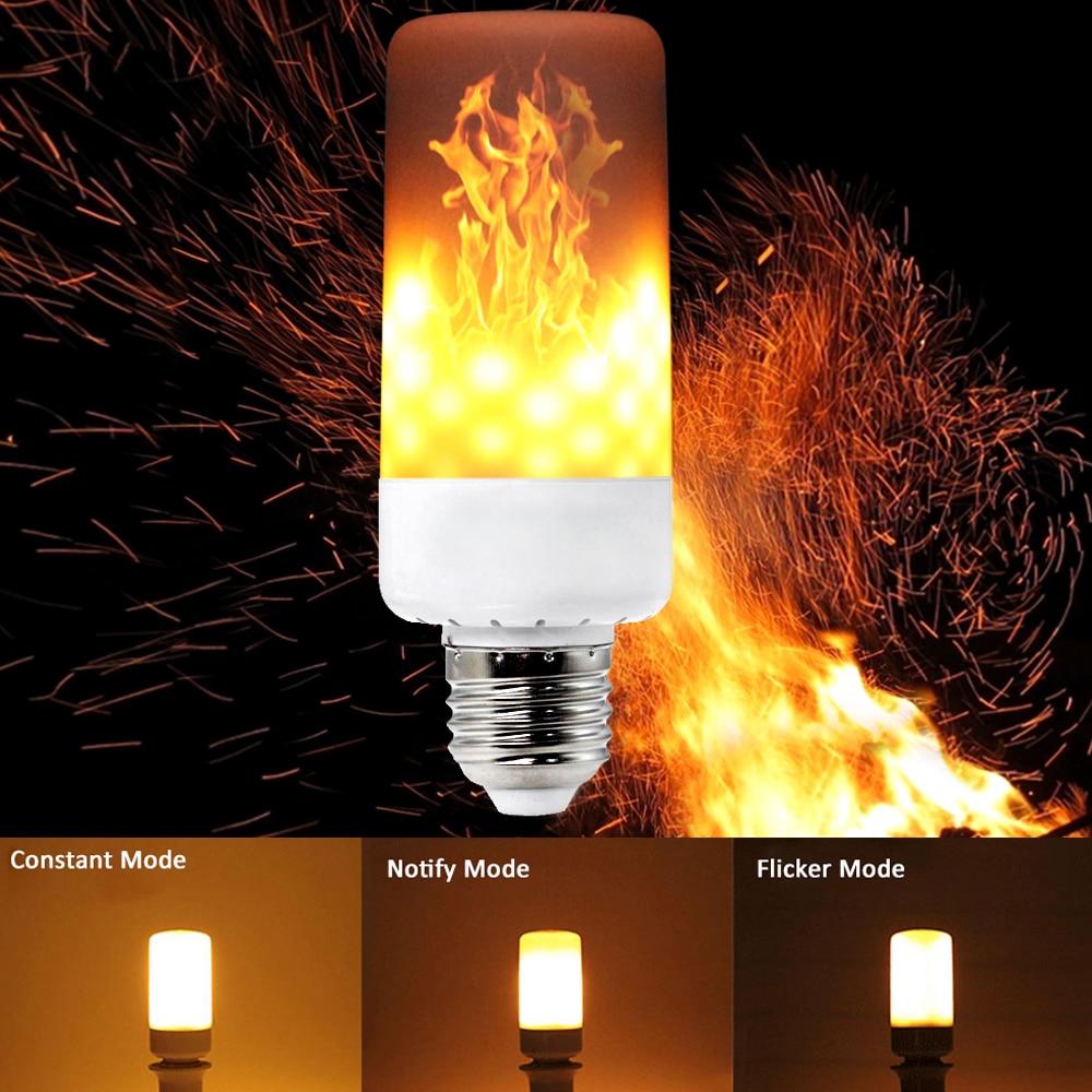 YWXLight 2PCS E27 E26 E14 E12 B22 LED Flame Effect Fire Light Bulbs 3-Modes 6W AC 85-265V Flickering Emulation Decorative Lamp цена