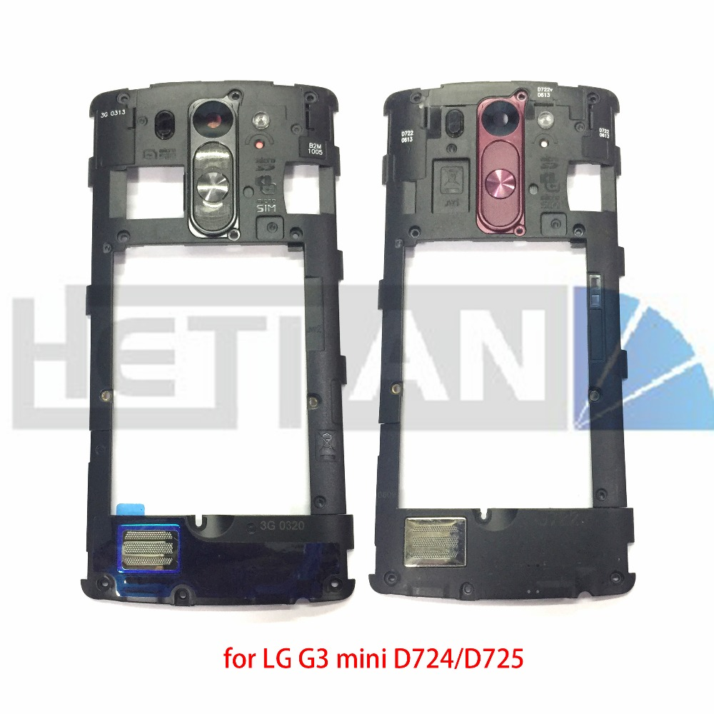 1pcs middle Bezel frame Back Housing Plate Camera Lens Cover Home Button Key+loud speaker module For LG G3 Mini G3 S/D724,D725
