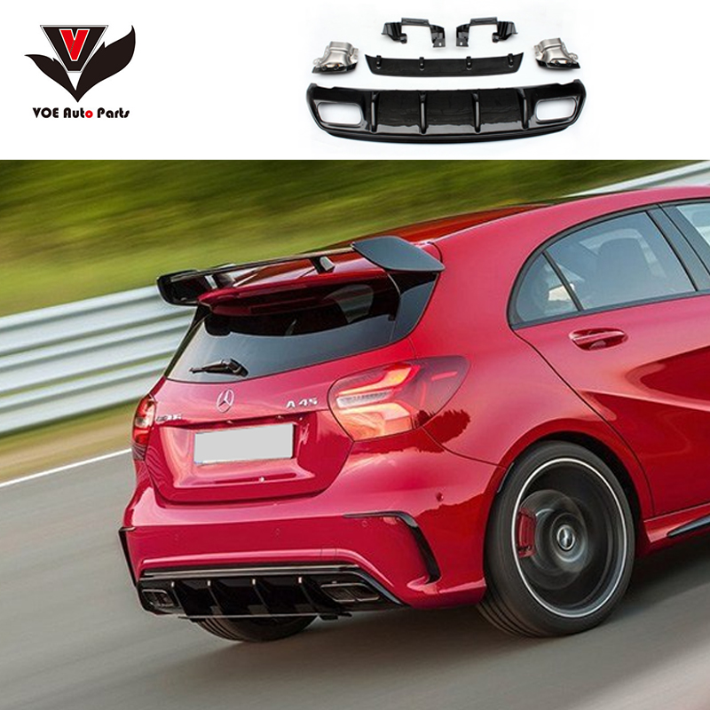 <font><b>W176</b></font> ABS Plastic A45 AMG Diffuser With 4-Outlet Exhaust Tips for <font><b>Mercedes</b></font>-<font><b>Benz</b></font> A-class <font><b>W176</b></font> Sport Edition A180 <font><b>A200</b></font> 2013-2017 image