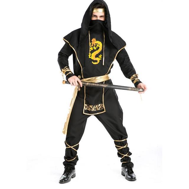 New Retail High Quality Halloween Black Ninja Cosplay Suits Man Carnival Masquerade Samurai Costumes Role play uniform A155816