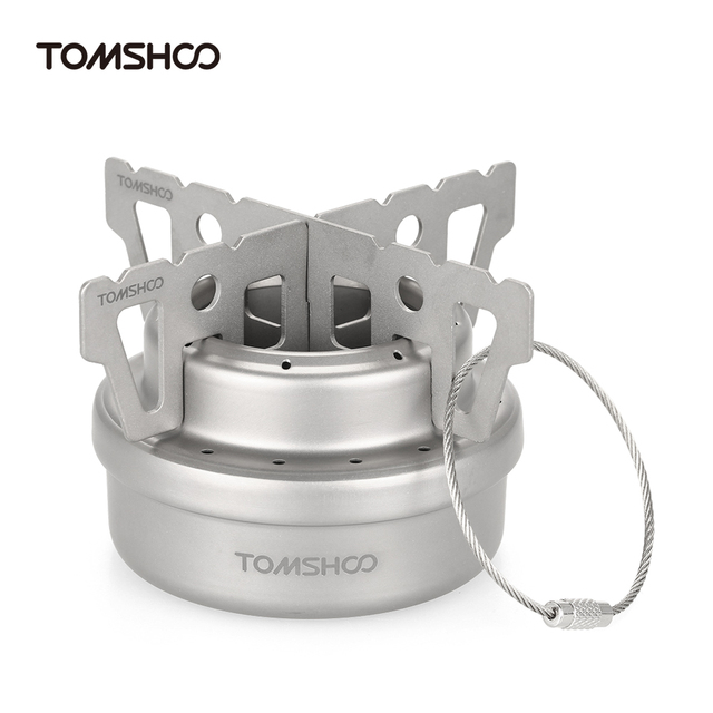 TOMSHOO Outdoor Camping Stove Titanium Alcohol Stove + Rack Set Mini Ultralight Burners with Cross Stand Stove Rack Support Hot