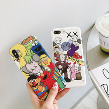 luxury case for iPhone x 7 xr xs max cover original 8 8Plus 7Plus 6 6s PC frosted touch cute cartoon side pattern coverage