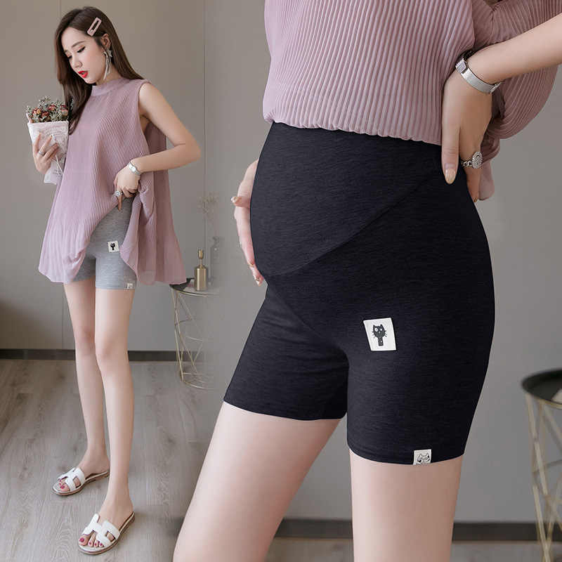 Pregnant Modal Outwear Cat Shorts Maternity High & Low Waist Care Belly Safety Pants Mother Stretch Breathable Leggings Clothing