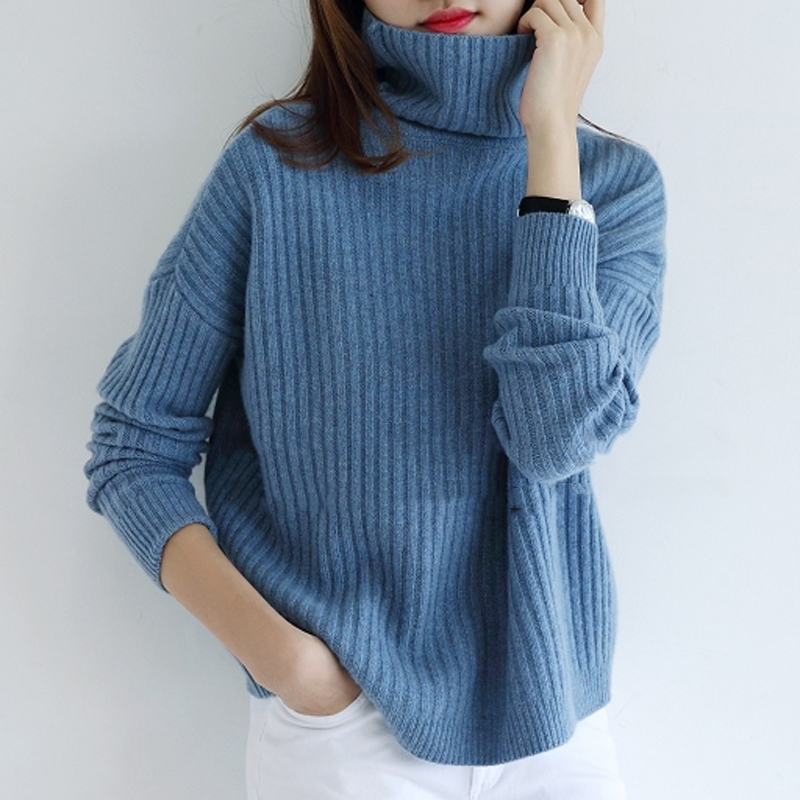 Women Sweater 100 Cashmere and Wool Knitting Jumpers Ladies Turtleneck Pullovers Loose Style Girl Knitwear Winter