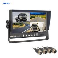 SMALUCK 9 4CH 4PIN 4 Split Quad Screen Display Backup Rear View Car Monitor for Car Truck Bus Reversing Camera 12V 24V DC