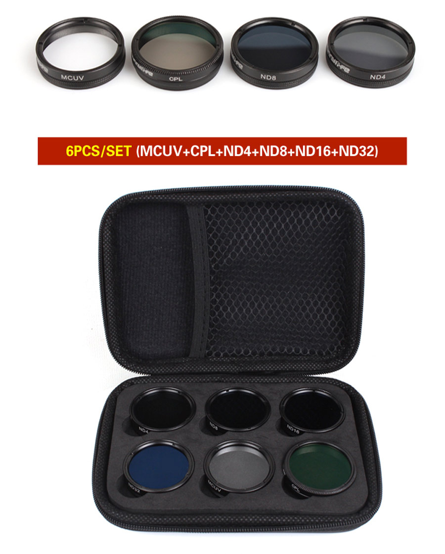 Sunnylife Lens Filter MCUV CPL ND4 ND8 ND16 ND32 Filter Multi-layer Coating for DJI Phantom 4 PRO/ PRO+