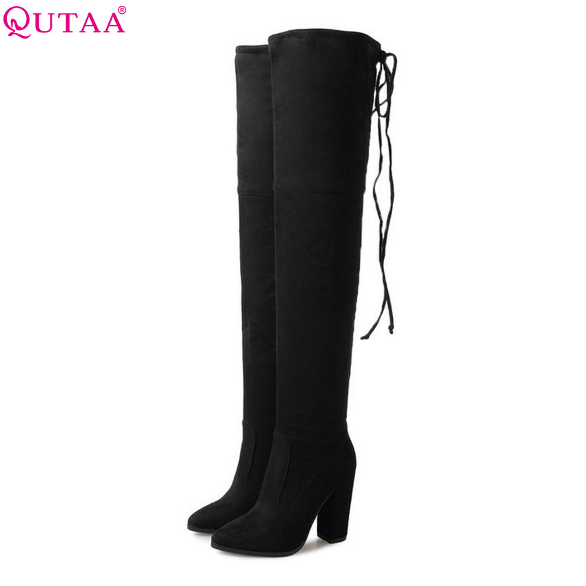 цена на QUTAA 2018 New Women Over The Knee High Boots Pointed Toe Fashion Square High Heel Cow Suede + Pu Women Fashion Boots Size 34-39
