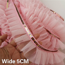 5CM Wide Pink Glitter Sequins Lace 3D Pleated Mesh Fabric Ribbon Ruffle Guipure Trim Dress Collar Headwear DIY Sewing Supplies