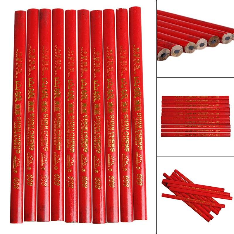 10Pcs 175mm Standard Carpenters Pencils Wood Black Carpenter Pencil Woodworking Elliptical pencil YX#